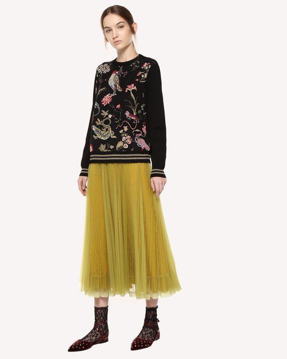 REDValentino 细点网眼薄纱褶裥半裙