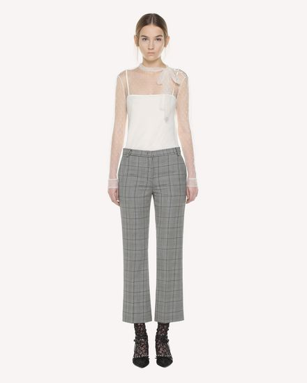 Prince of Wales cropped flare pants