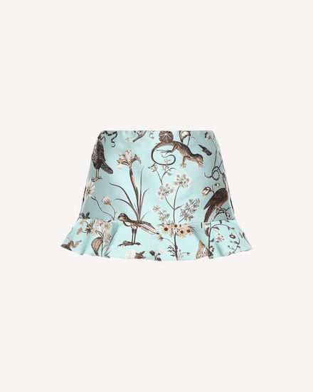 Ruffle detailed Flora and Fauna brocade shorts