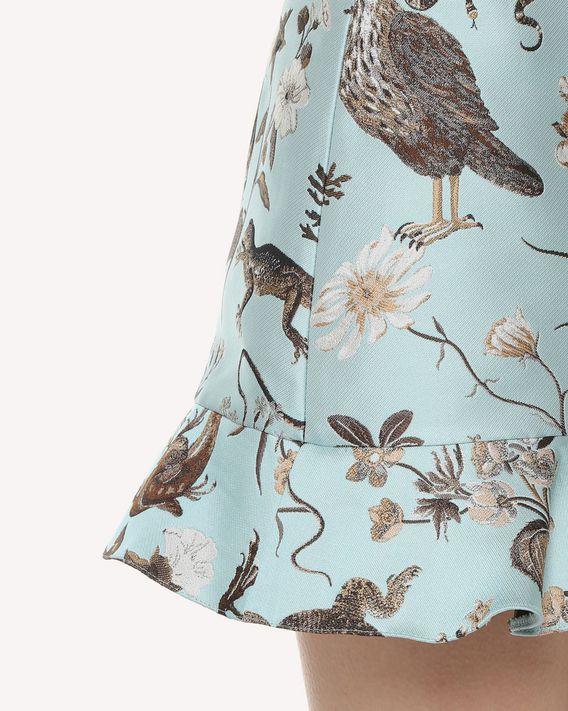 REDValentino Flora and Fauna 褶饰细节锦缎短裤