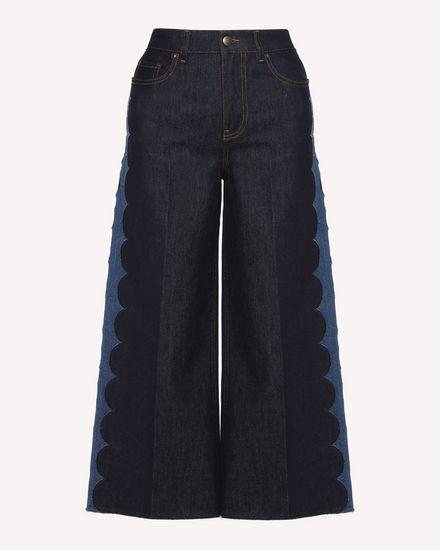 扇形刺绣牛仔长裤