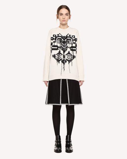 装饰框架刺绣羊毛厚呢半裙