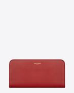 GRAND Portefeuille zippé  Saint Laurent  Paris en cuir rouge