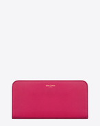 Classic SAINT LAURENT PARIS Zip Around Wallet in Pink Leather