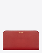 Large Classic  Saint Laurent PARIS Zip Around Wallet In Red Leather