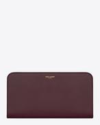 Large Classic  Saint Laurent PARIS Zip Around Wallet In dark magenta Leather