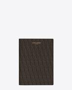 Custodia per passaporto Classic Toile Monogram nera in tela stampata e pelle