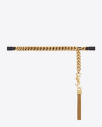 MONOGRAM Saint Laurent Tassel Chain Belt in Black Leather and Gold-Toned Metal