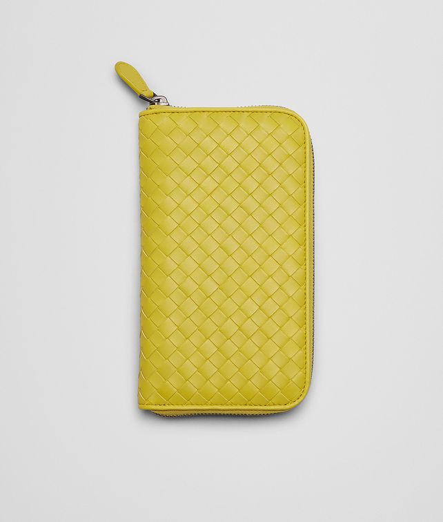 New Chartreuse Intrecciato Nappa Zip Around Wallet