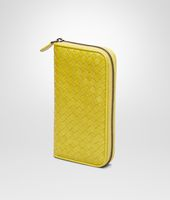 New Chartreuse Intrecciato Vn Zip Around Wallet