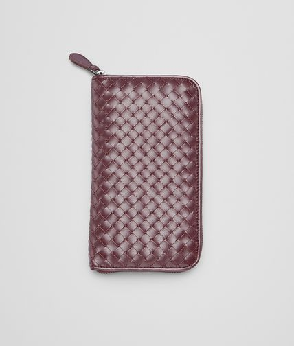 BOTTEGA VENETA - Aubergine Intrecciato Vn Zip Around Wallet