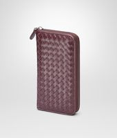 Aubergine Intrecciato Vn Zip Around Wallet