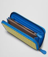 NEW CHARTREUSE SIGNAL BLUE  INTRECCIATO  MADRAS HERITAGE   ZIP AROUND WALLET