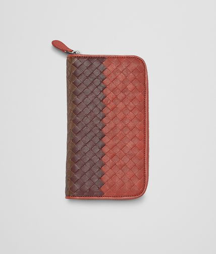 BOTTEGA VENETA - Burnt Red Aubergine Edoardo Intrecciato Club Fumé Zip Around Wallet