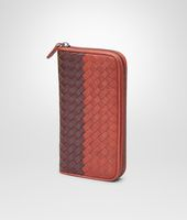 Burnt Red Aubergine Edoardo Intrecciato Club Fumé Zip Around Wallet