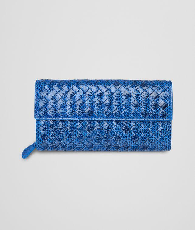 SIGNAL BLUE  Intrecciato Ayers Livrea CONTINENTAL WALLET