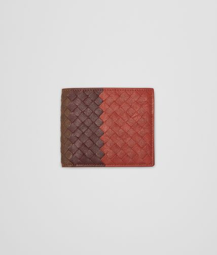 BOTTEGA VENETA - Burnt Red Aubergine Edoardo Intrecciato Club Fumé Wallet