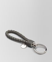 NEW LIGHT GREY INTRECCIATO NAPPA KEY RING