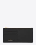 Classic Saint Laurent Paris 4 Fragments Zip Pouch in Black Grain de Poudre Textured Leather