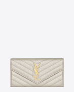Large Monogram Saint Laurent Flap Wallet in Silver Textured Matelassé Metallic Leather