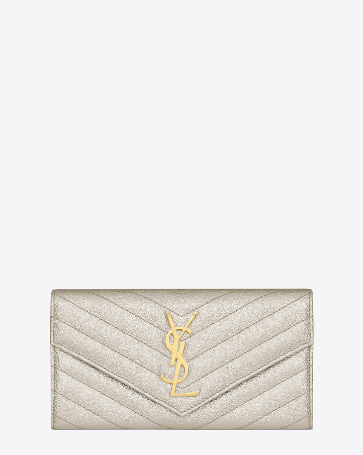 Saint Laurent Large Monogram Saint Laurent Flap Wallet In Silver ...