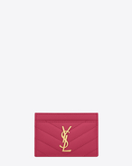Monogram SAINT LAURENT CREDIT CARD CASE IN Lipstick Fuchsia Grain de Poudre Textured Matelassé Leather