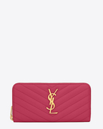 Monogram Saint Laurent Zip Around Wallet in Lipstick Fuchsia Grain de Poudre Textured Matelassé Leather
