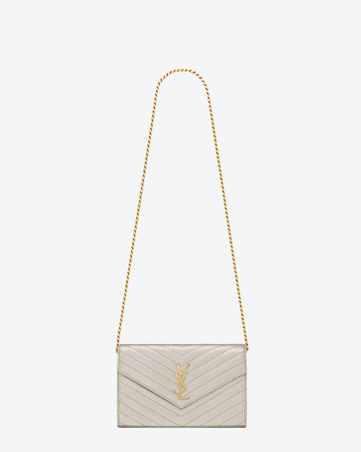 Monogram Metallic Leather Crossbody Bag, Silver