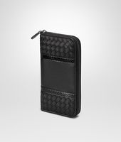 ZIP AROUND WALLET IN NERO INTRECCIATO NAPPA, AYERS DETAILS