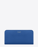 CLASSIC SAINT LAURENT PARIS ZIP AROUND WALLET IN Royal Blue LEATHER