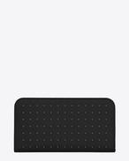 PORTAFOGLI CLASSIC SAINT LAURENT PARIS NERO IN PELLE A TEXTURE GRAIN DE POUDRE CON ZIP e borchie argentate in metallo