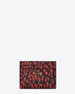 CLASSIC SAINT LAURENT PARIS CARD CASE IN Black and Red Babycat Printed Leather