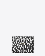CLASSIC SAINT LAURENT PARIS CARD CASE IN Black and White Babycat Printed Leather