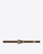 WESTERN BELT IN TAN Leopard Printed Brushed LEATHER