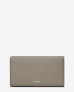 CLASSIC SAINT LAURENT PARIS LARGE FLAP WALLET IN Light Grey Grained LEATHER