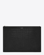 CLASSIC SAINT LAURENT PARIS Zipped DOCUMENT HOLDER IN BLACK Crocodile Embossed Leather