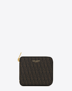CLASSIC TOILE MONOGRAM Compact Zip Around WALLET in Black Printed Canvas