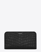 Klassisches Saint Laurent Paris Portemonnaie aus schwarzem Leder mit Krokodilprägung und Rundumreißverschluss
