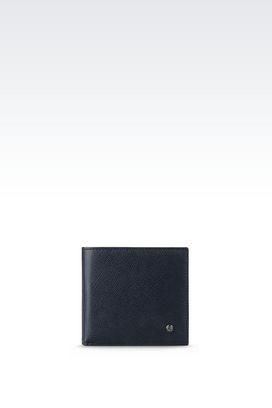 Armani Wallets Men bi-fold wallet in saffiano calfskin