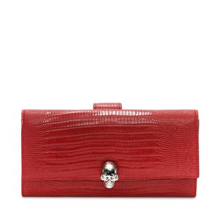 ALEXANDER MCQUEEN, Wallet, Embossed Leather Continental Skull Leather Wallet