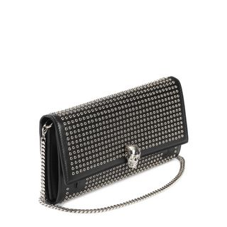 ALEXANDER MCQUEEN, Wallet, Calf Leather Studded Wallet With Chain