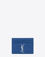MONOGRAM SAINT LAURENT Credit Card Case in Royal Blue Crocodile Embossed Leather