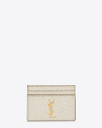 MONOGRAM SAINT LAURENT Credit Card Case in Pale Gold Grained Metallic Leather