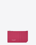 Classic SAINT LAURENT PARIS 5 Fragments Zip Pouch in Lipstick Fuchsia Grained Leather