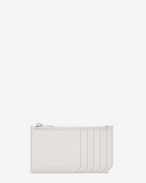 Classic SAINT LAURENT PARIS 5 Fragments Zip Pouch in Dove White Grained Leather