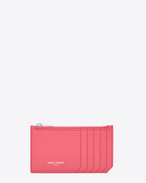 Classic SAINT LAURENT PARIS 5 Fragments Zip Pouch in Light Rose Grained Leather