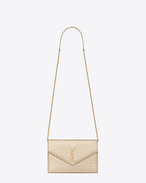 MONOGRAM SAINT LAURENT Envelope chain Wallet in Pale Gold Lizard Embossed Metallic Leather