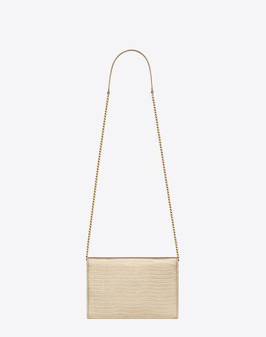 shop ysl handbags - SAINT LAURENT Monogram Envelope Chain Wallet In Pale Gold Lizard ...