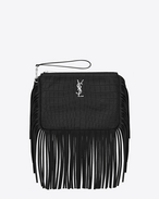 MONOGRAM SAINT LAURENT Pouch in Black Crocodile Embossed Leather