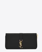 Portefeuille zippé YSL en cuir noir
